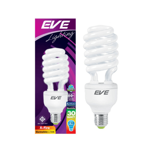 EVE หลอดประหยัดไฟ 30วัตต์ วอร์มไวท์ E27 เอ็กไฟล์