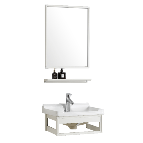 IRIS ชุดเฟอร์นิเจอร์อลูมิเนียมพร้อมอ่างล้างหน้าและกระจก แบบแขวน ขนาด 36x50x27cm  9105   สีขาว