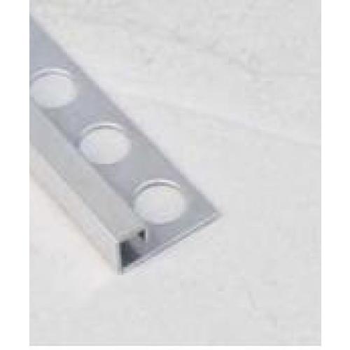 MAC  คิ้วกระเบื้องสเตนเลสสตีล 304แบบเหลี่ยม สูง 12 มม หนา 0.6มม.   PQS-SBP024-12 สีขาว
