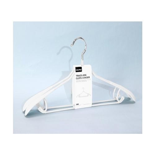 USUPSO  ไม้แขวนเสื้อสูท 2 อัน   (#D) สีขาว