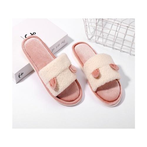 USUPSO USUPSO รองเท้าใส่ในบ้าน Velvet teddy สีชมพู 39-40 (#BU9)  ขาว