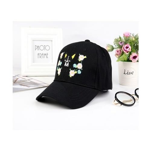 USUPSO หมวกแก๊ปเบสบอลลายปักสุนัข - สีดำ