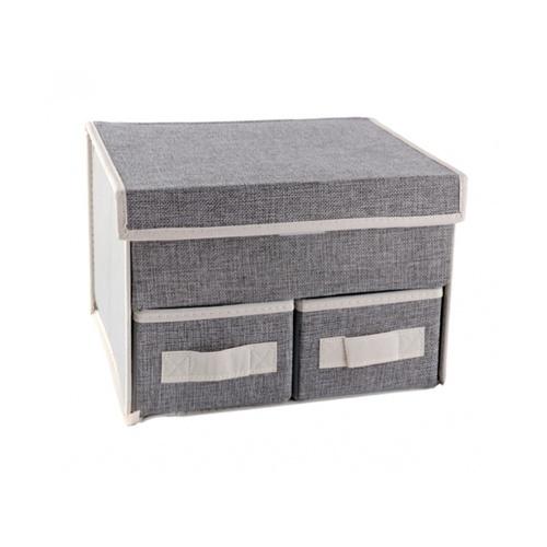 USUPSO กล่องเก็บของ 2ช่อง  Concise linen  สีเทา
