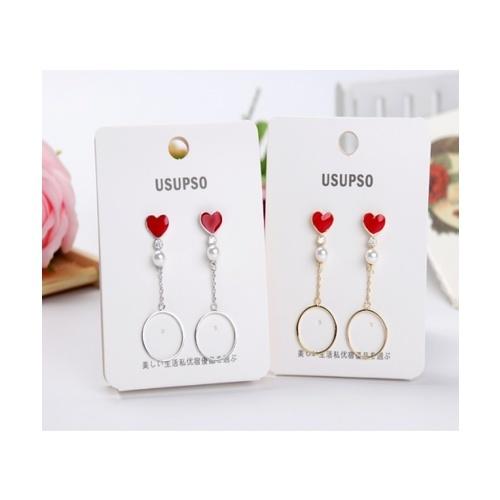 USUPSO ต่างหู Heart simple สีแดง