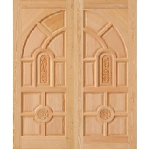 D2D ประตูไม้ดักลาสเฟอร์ลูกฟักแกะลาย  ขนาด 90x200cm.  Eco Pine-005