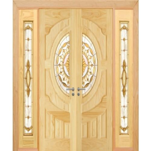 D2D ประตูไม้สนนิวซีแลนด์ ลูกฟักพร้อมกระจก SET 3 ขนาด 80x200cm.  D2D-417