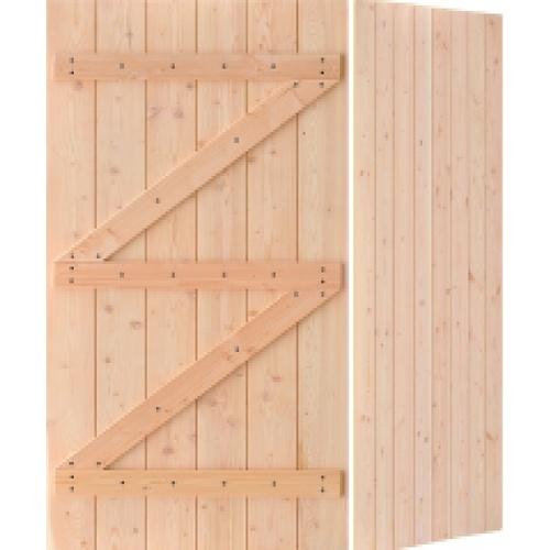 D2D ประตูไม้ดักลาสเฟอร์ บานทีบเซาะร่อง  ขนาด 80x200cm. Eco Pine-99