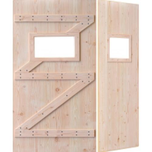 D2D ประตูไม้ดักลาสเฟอร์ บานทึบเจาะช่องกระจก ขนาด 80x200cm. Eco Pine-111