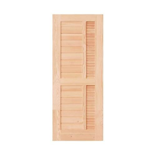 D2D ประตูไม้ดักลาสเฟอร์ ทำร่องพร้อมเกล็ดระบายอากาศ ขนาด 90x220cm.  Eco Pine-019