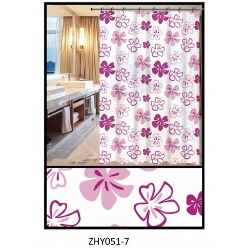 PRIMO ผ้าม่านห้องน้ำ PEVA ลายดอกไม้ ขนาด180x180ซม.  DF006