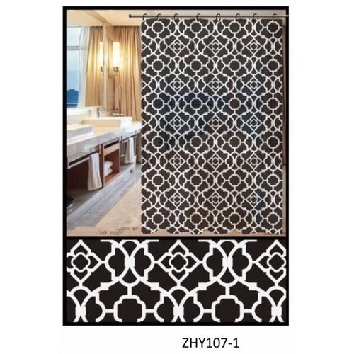 PRIMO ผ้าม่านห้องน้ำ PEVA ลายกราฟฟิก ขนาด 180x180ซม. DF015 สีดำ