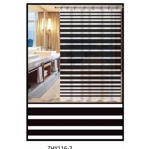 Primo ผ้าม่านห้องน้ำ PEVA ลายทางขาวดำ ขนาด180x180ซม.   DF017