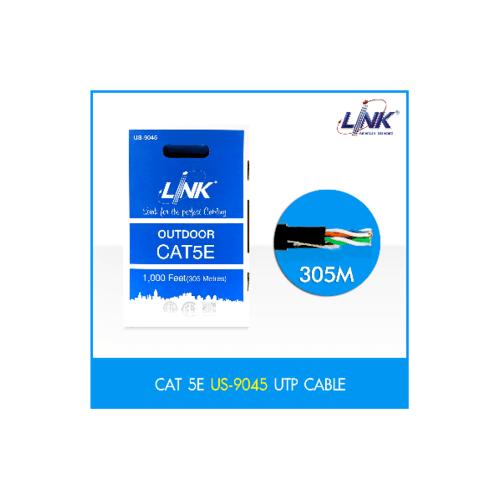 LINK LAN สายแลน  CAT5E UTP OUT DOOR US-9045 305 M. ดำ US-9045 สีดำ