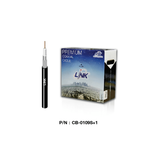 LINK สาย RG6 CCTV สีดำ ชิลด์ 96% LINK ม้วน 100ม. CB-0109S+1