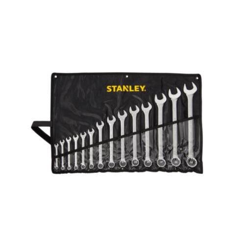 STANLEY ชุดประแจแหวนข้าง ปากตาย 14 ชิ้น Wrench 14PC CWB Pouch Set -Metric - Black Stanley STMT80944-8 สีโครเมี่ยม