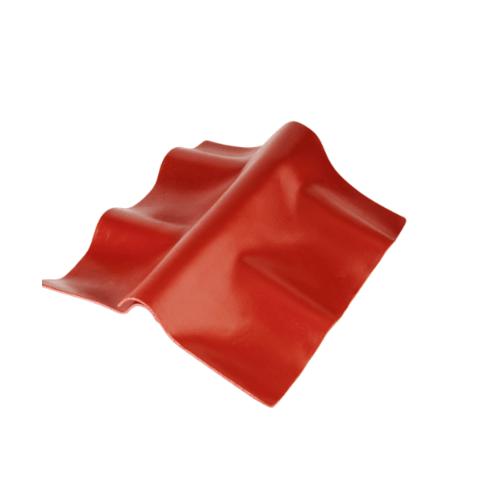 ตราเพชร ครอบปรับมุมตัวบน กระเบื้องลอนคู่ ขนาด 55x33 ซม. สีแดงมั่งมี