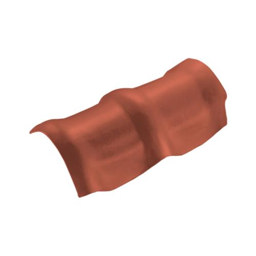 ตราเพชร ครอบสันโค้ง 3 หัว กระเบื้องลอนคู่ ขนาด 26.5x49 ซม. สีส้มทองมังกร