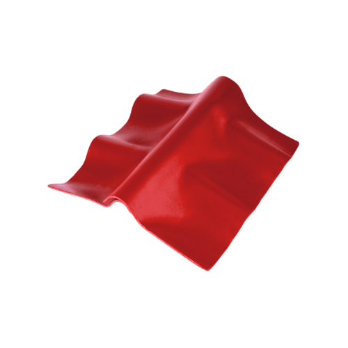 ตราเพชร ครอบปรับมุม ตัวล่าง กระเบื้องลอนคู่ ขนาด 55x30 ซม. สีแดงประกายเพชร