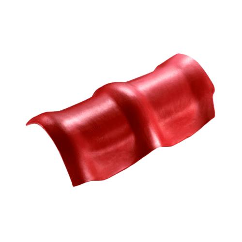 ตราเพชร ครอบสันโค้ง 3 หัว กระเบื้องลอนคู่ ขนาด 26.5x49 ซม. สีแดงประกายเพชร