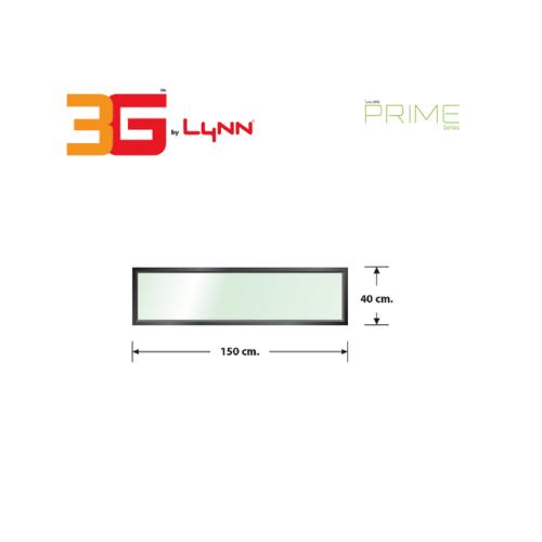 3G หน้าต่างอะลูมิเนียมบานช่องแสงติดตาย (PS) ขนาด 150x40ซม. Prime สีดำเงา