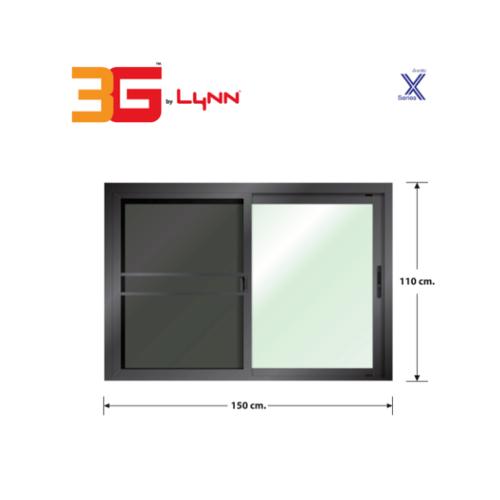 3G หน้าต่างอะลูมิเนียมบานเลื่อน SS ขนาด 150x110ซม. พร้อมมุ้ง (PS) X-Series สีดำเงา