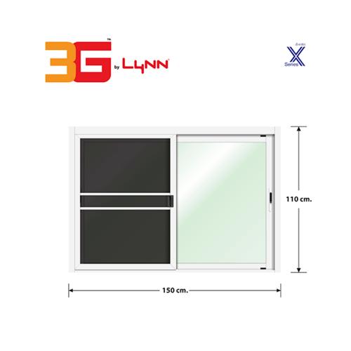3G หน้าต่างบานเลื่อนสลับ+มุ้งลวด ขนาด 1.50x1.10 เมตร X Series สีขาว