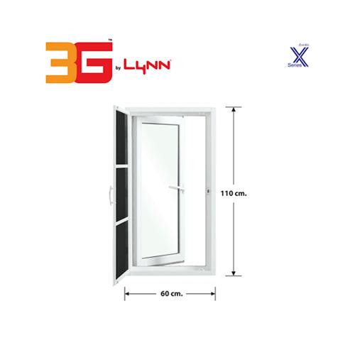 3G หน้าต่างบานเปิดเดี่ยว+มุ้ง ขนาด 0.60x1.10 เมตร X Series สีขาว