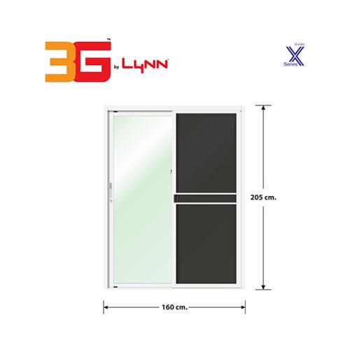 3G ประตูบานเลื่อนสลับ+มุ้งลวด ขนาด 1.60x2.05 เมตร  X-SERIES สีขาว