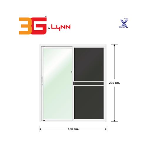 3G ประตูบานเลื่อนสลับ+มุ้งลวด  ขนาด 1.80x2.05 เมตร  สีขาว