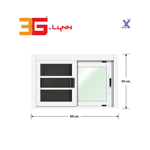 3G หน้าต่างบานเลื่อนสลับ+มุ้งลวด ขนาด 0.80x0.50 เมตร X Series สีขาว
