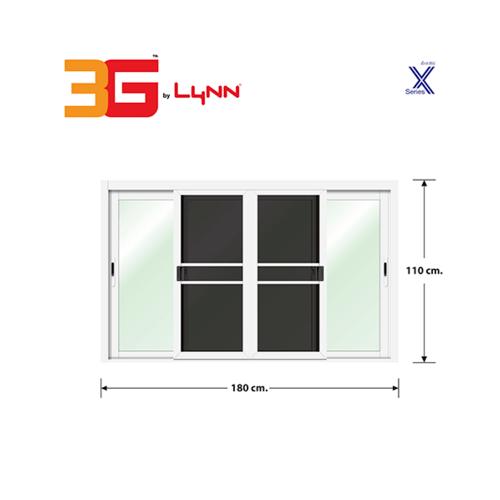 3G หน้าต่างอลูมิเนียมสำเร็จรูป ขนาด 180 x 110 cm. X Series สีขาว