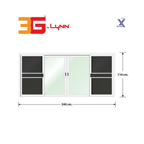 3G หน้าต่างบานเลื่อนชนกลาง+มุ้งลวด ขนาด 2.40x1.10 เมตร X Series สีขาว