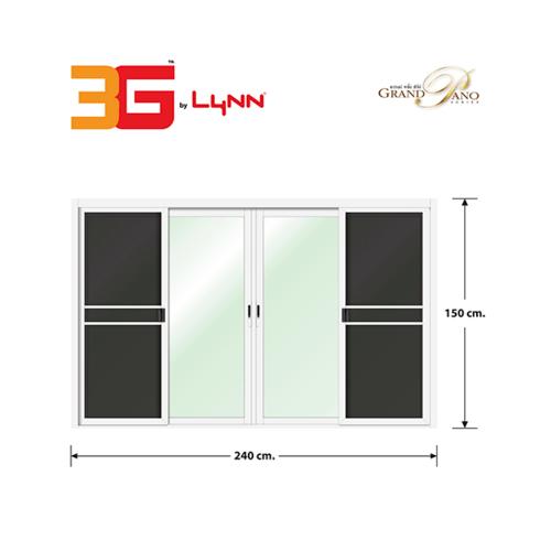 3G หน้าต่างอลูมิเนียมบานเลื่อน ขนาด 240x150cm. พร้อมมุ้ง FSSF (GP) สีขาว