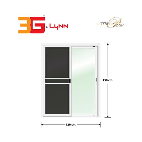3G หน้าต่างอลูมิเนียมบานเลื่อน SS (GP) 120x150cm. พร้อมมุ้ง Grand Pano Series สีขาว