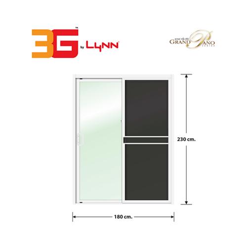 3G ประตูบานเลื่อนสลับ SS (GP)  ขนาด 180cm.x230cm.  พร้อมมุ้ง  สีขาว