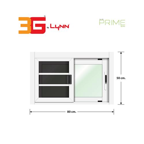 3G หน้าต่างอลูมิเนียมบานเลื่อน SS (PS) ขนาด 80x50cm. พร้อมมุ้ง PRIME SERIES สีขาว