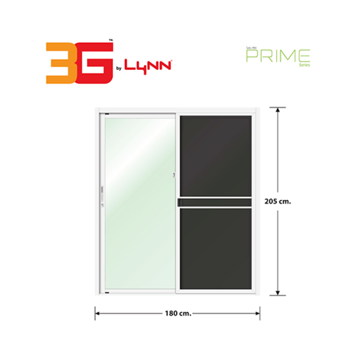 3G ประตูบานเลื่อนสลับ SS (PS) ขนาด  180cm.x205cm.  พร้อมมุ้ง  สีขาว