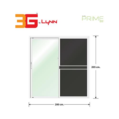 3G ประตูบานเลื่อนสลับ SS (PS) ขนาด 200cm.x205cm.  พร้อมมุ้ง สีขาว