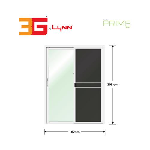 3G ประตูบานเลื่อนสลับ SS (PS)  ขนาด 160cm.x205cm.  พร้อมมุ้ง  สีขาว
