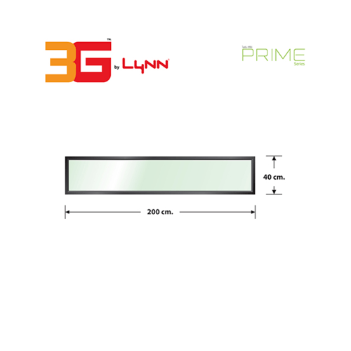 3G หน้าต่างอลูมิเนียมช่องแสงติดตาย (PS) 200x40ซม.  Prime สีดำเงา