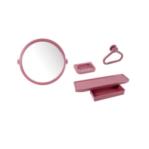PIXO กระจกชุด4ชิ้นแบบกลม MS02 สีแดง