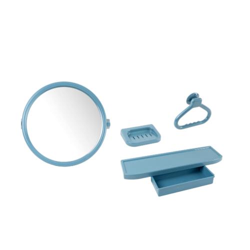 PIXO กระจกชุด4ชิ้นแบบกลม MS02 สีฟ้า