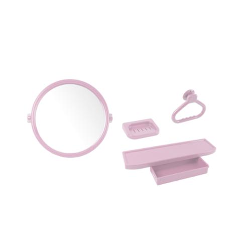 PIXO กระจกชุด4ชิ้นแบบกลม MS 02  สีชมพู