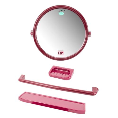 PIXO กระจกชุด4ชิ้น แบบกลม MS05แดง