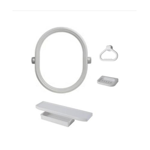 PIXO กระจกชุด4ชิ้นแบบวงรี MS06 ขาว