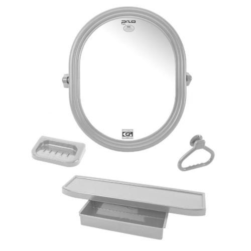 PIXO กระจกชุด4ชิ้น แบบวงรี MS06 สีเทา