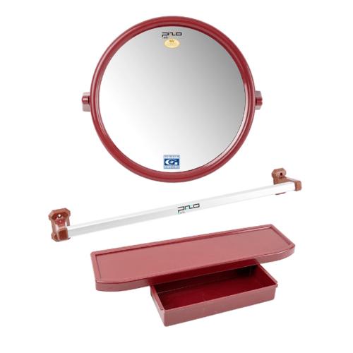 PIXO กระจกชุด3ชิ้น แบบกลม MS08 สีแดง