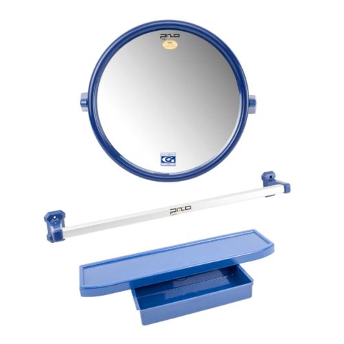 PIXO กระจกชุด3ชิ้น แบบกลม MS08 สีน้ำเงิน