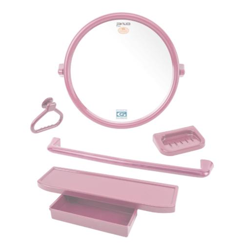 PIXO กระจกชุด5ชิ้น แบบกลม MS09 สีชมพู