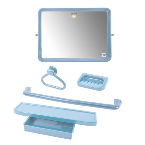 PIXO กระจกชุด5ชิ้น แบบเหลี่ยม MS010 สีฟ้า